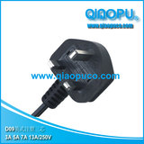 3 pin British power cord with fuse