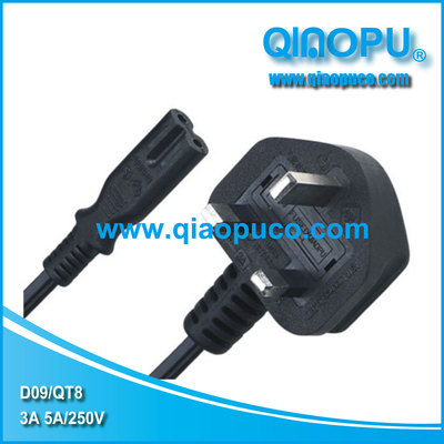 D09 QT8 喬普英式延長線 八字尾C7連接器 UK extension cord